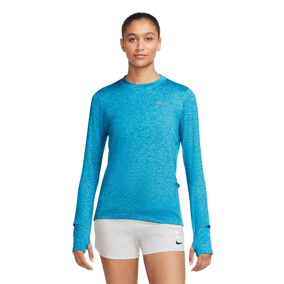 Women's Nike Element Crew Long Sleeve Shirt - Color: Lazer Blue/Glacier Ice - Size: XS, Lazer Blue/Glacier Ice, large, image 1