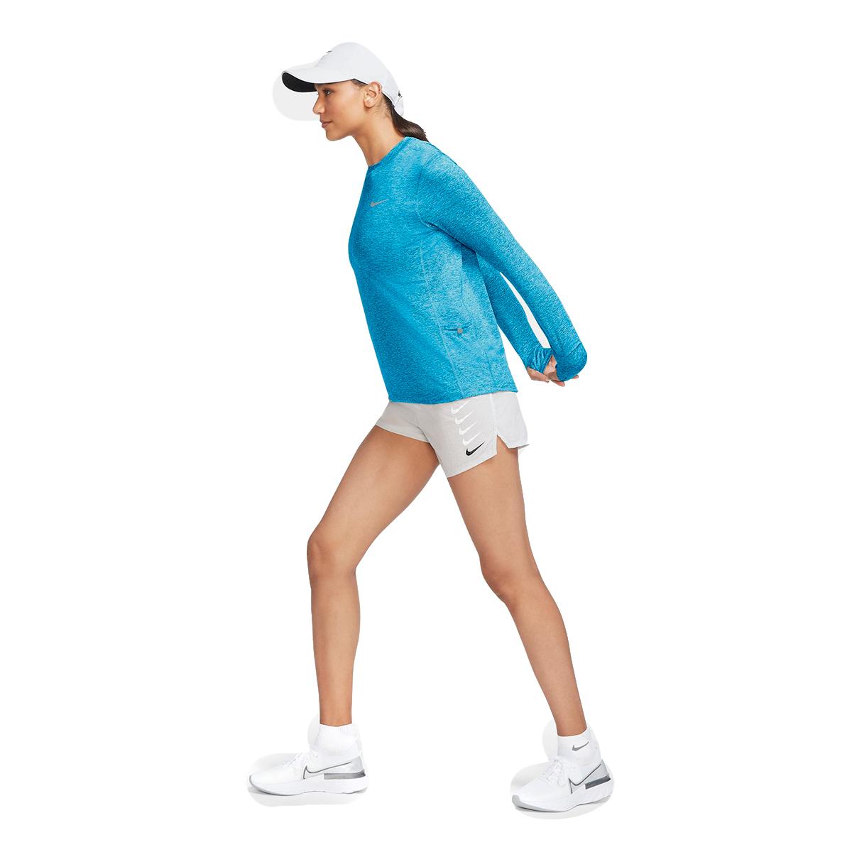 Women's Nike Element Crew Long Sleeve Shirt - Color: Lazer Blue/Glacier Ice - Size: XS, Lazer Blue/Glacier Ice, large, image 3