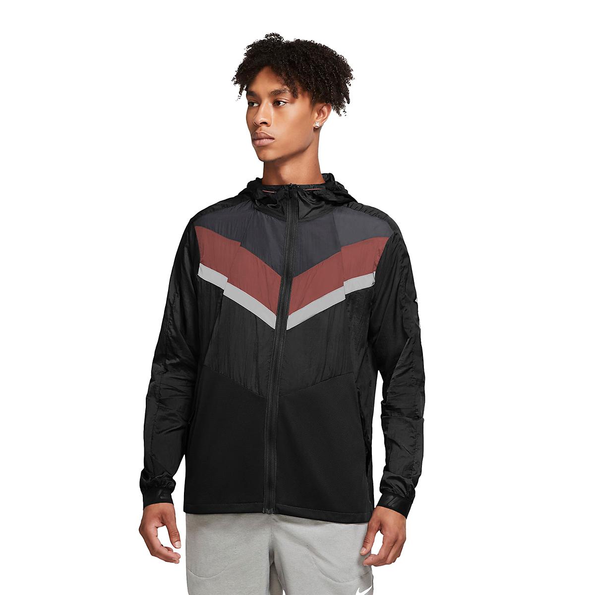Men's Nike Windrunner Wild Run Running Jacket - Color: Black/Dark Smoke Grey/Claystone Red - Size: S, Black/Dark Smoke Grey/Claystone Red, large, image 1