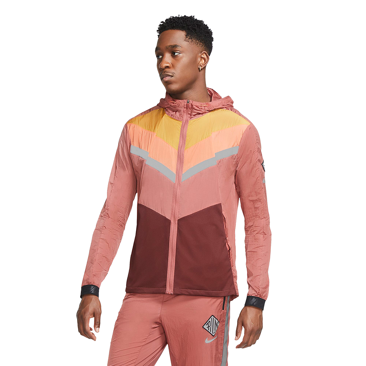 Men's Nike Windrunner Wild Run Running Jacket - Color: Claystone Red/Chutney/Camellia - Size: S, Claystone Red/Chutney/Camellia, large, image 1