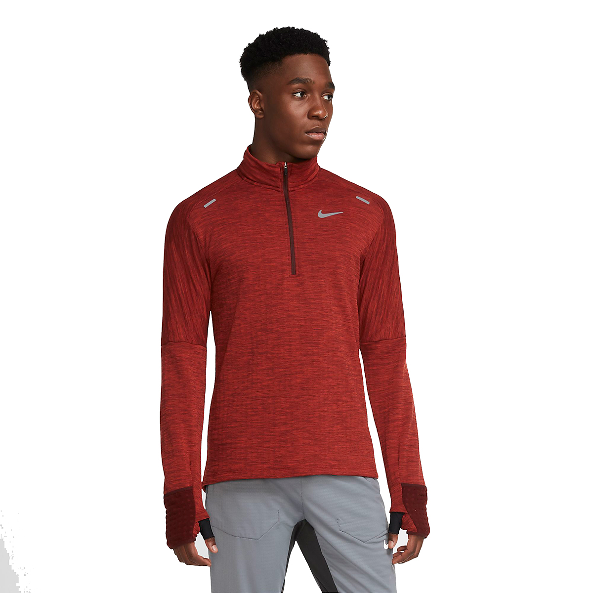 Men's Nike Sphere Half Zip Long Sleeve Shirt - Color: Mystic Dates/Heather/Chile Red - Size: S, Mystic Dates/Heather/Chile Red, large, image 1