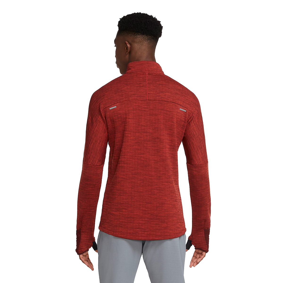 Men's Nike Sphere Half Zip Long Sleeve Shirt - Color: Mystic Dates/Heather/Chile Red - Size: S, Mystic Dates/Heather/Chile Red, large, image 2