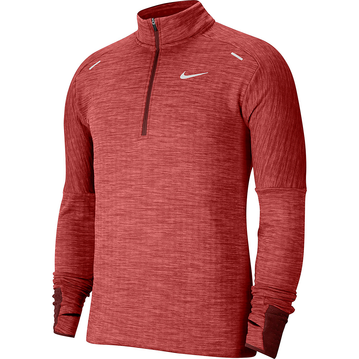 Men's Nike Sphere Half Zip Long Sleeve Shirt - Color: Mystic Dates/Heather/Chile Red - Size: S, Mystic Dates/Heather/Chile Red, large, image 3