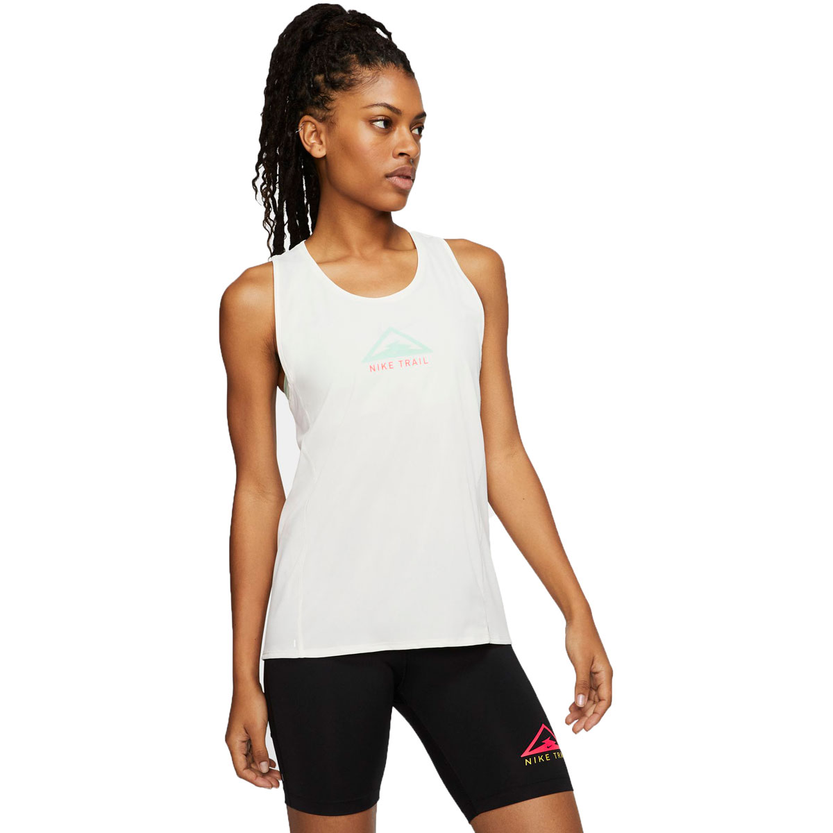 Women's Nike City Sleek Trail Running Tank - Color: Sail/Mint Foam/Laser Crimson - Size: XS, Sail/Mint Foam/Laser Crimson, large, image 1