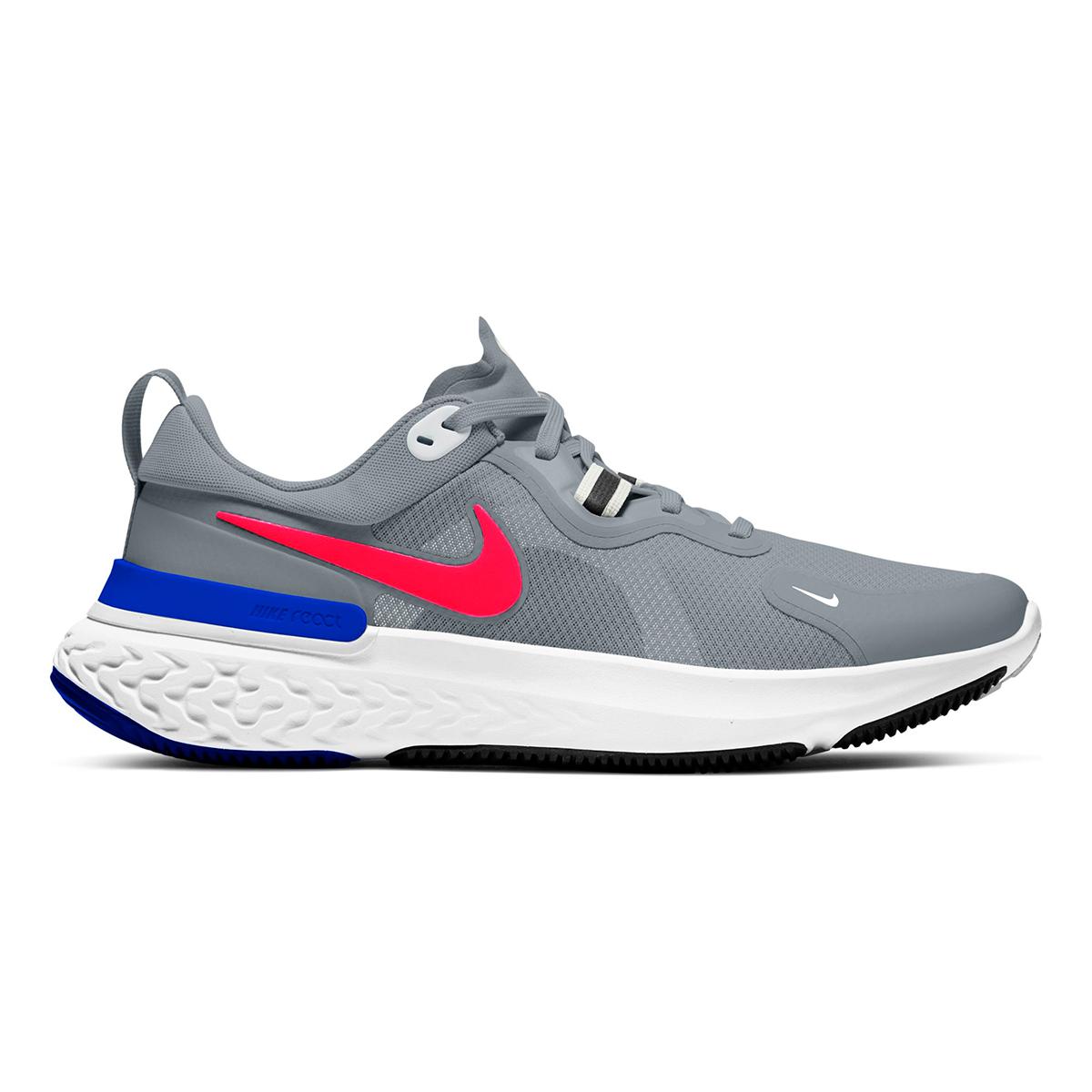 Men's Nike React Miler Running Shoe - Color: Pure Platinum/Racer Blue/Platinum Tint/Bright Crimson - Size: 6 - Width: Regular, Pure Platinum/Racer Blue/Platinum Tint/Bright Crimson, large, image 1