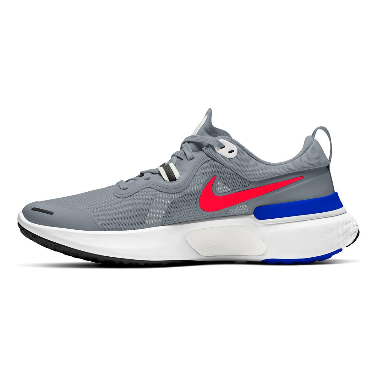 Men's Nike React Miler Running Shoe - Color: Pure Platinum/Racer Blue/Platinum Tint/Bright Crimson - Size: 6 - Width: Regular, Pure Platinum/Racer Blue/Platinum Tint/Bright Crimson, large, image 2