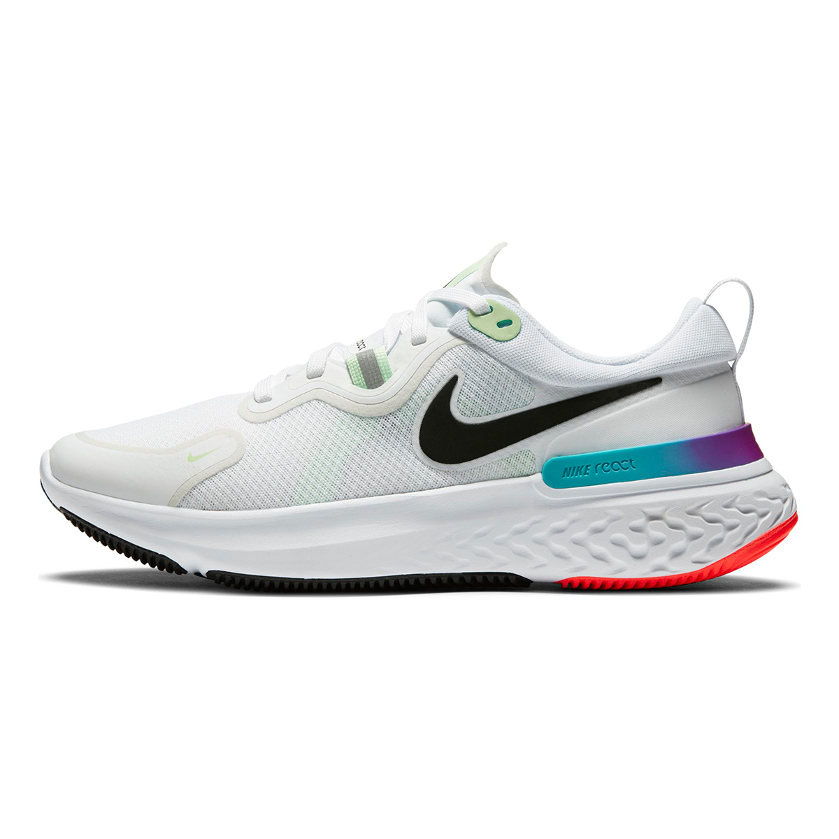 Women's Nike React Miler Running Shoe - Color: White/Vapor Green/Hyper Jade/Black - Size: 5 - Width: Regular, White/Vapor Green/Hyper Jade/Black, large, image 2