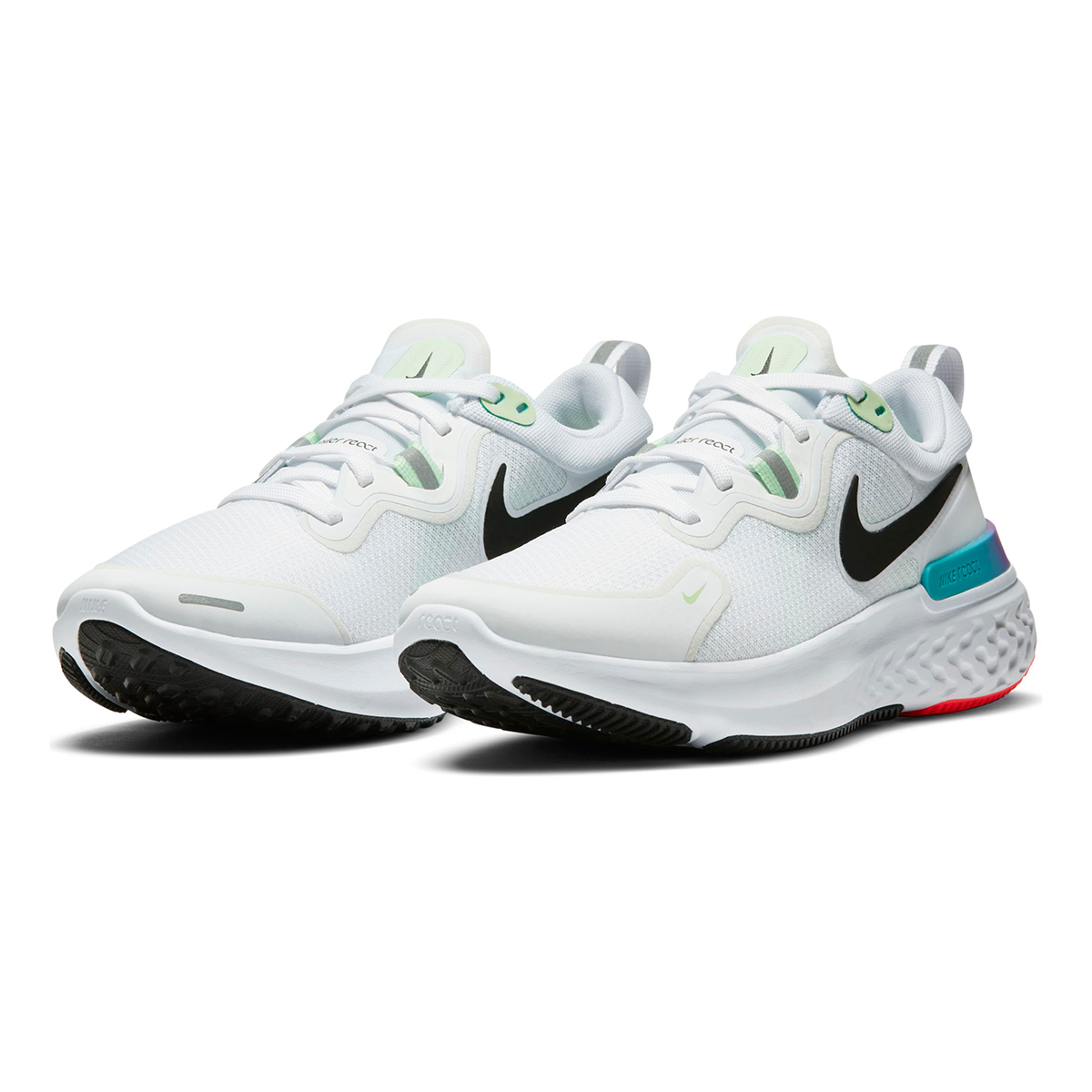 Women's Nike React Miler Running Shoe - Color: White/Vapor Green/Hyper Jade/Black - Size: 5 - Width: Regular, White/Vapor Green/Hyper Jade/Black, large, image 4
