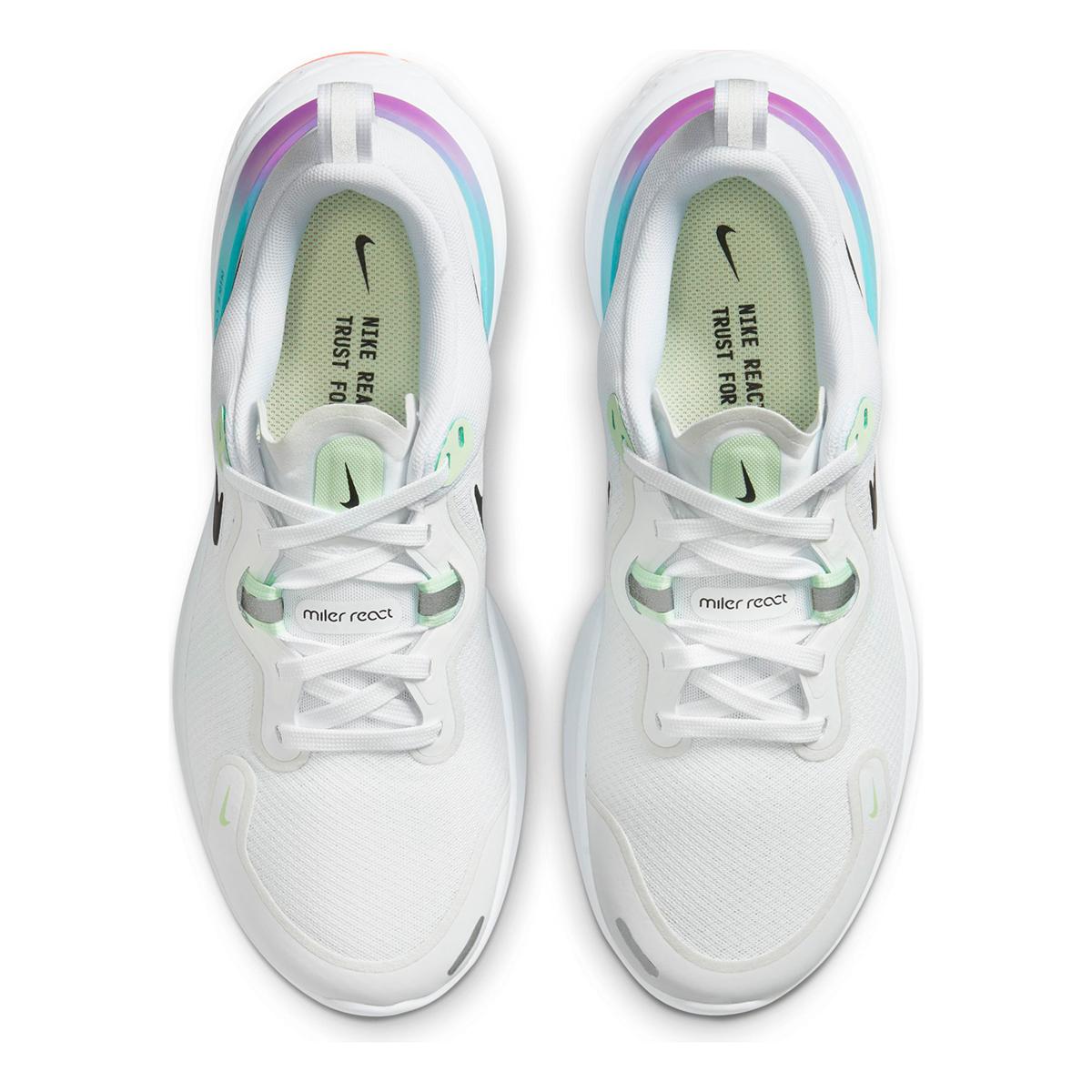Women's Nike React Miler Running Shoe - Color: White/Vapor Green/Hyper Jade/Black - Size: 5 - Width: Regular, White/Vapor Green/Hyper Jade/Black, large, image 5