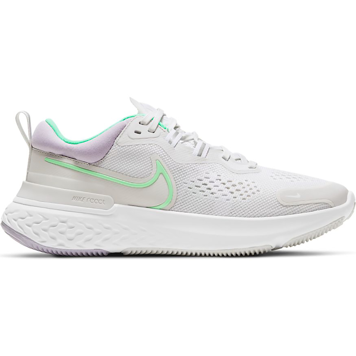 Women's Nike React Miler 2 Running Shoe - Color: Platinum Tint/Green Glow-White - Size: 5 - Width: Regular, Platinum Tint/Green Glow-White, large, image 1