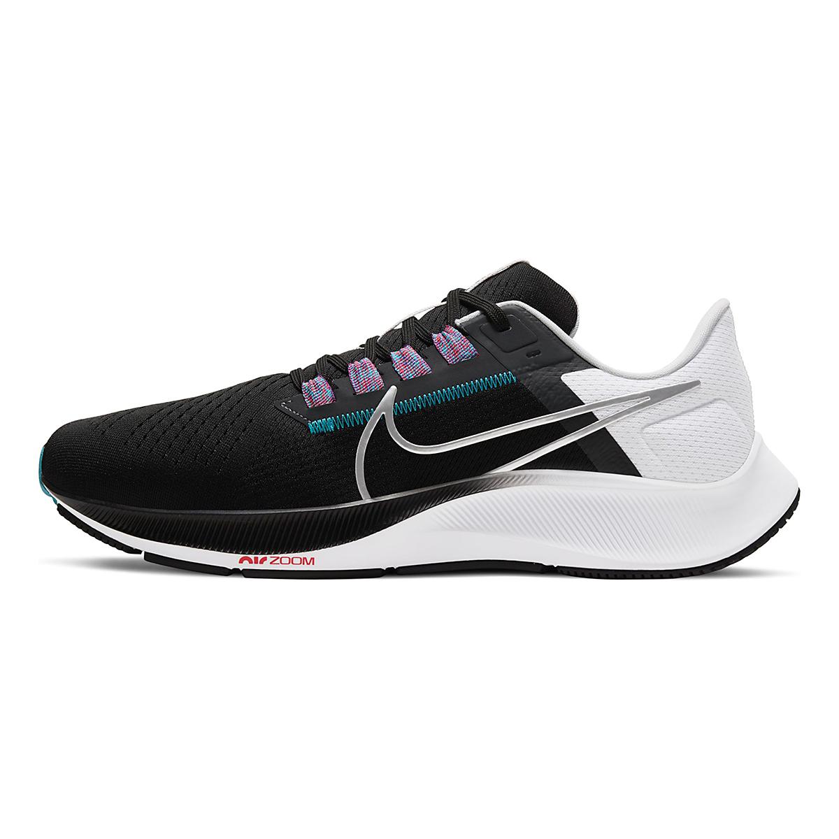 Men's Nike Air Zoom Pegasus 38 Running Shoe - Color: Black/Metallic Silver/White - Size: 6.5 - Width: Regular, Black/Metallic Silver/White, large, image 2
