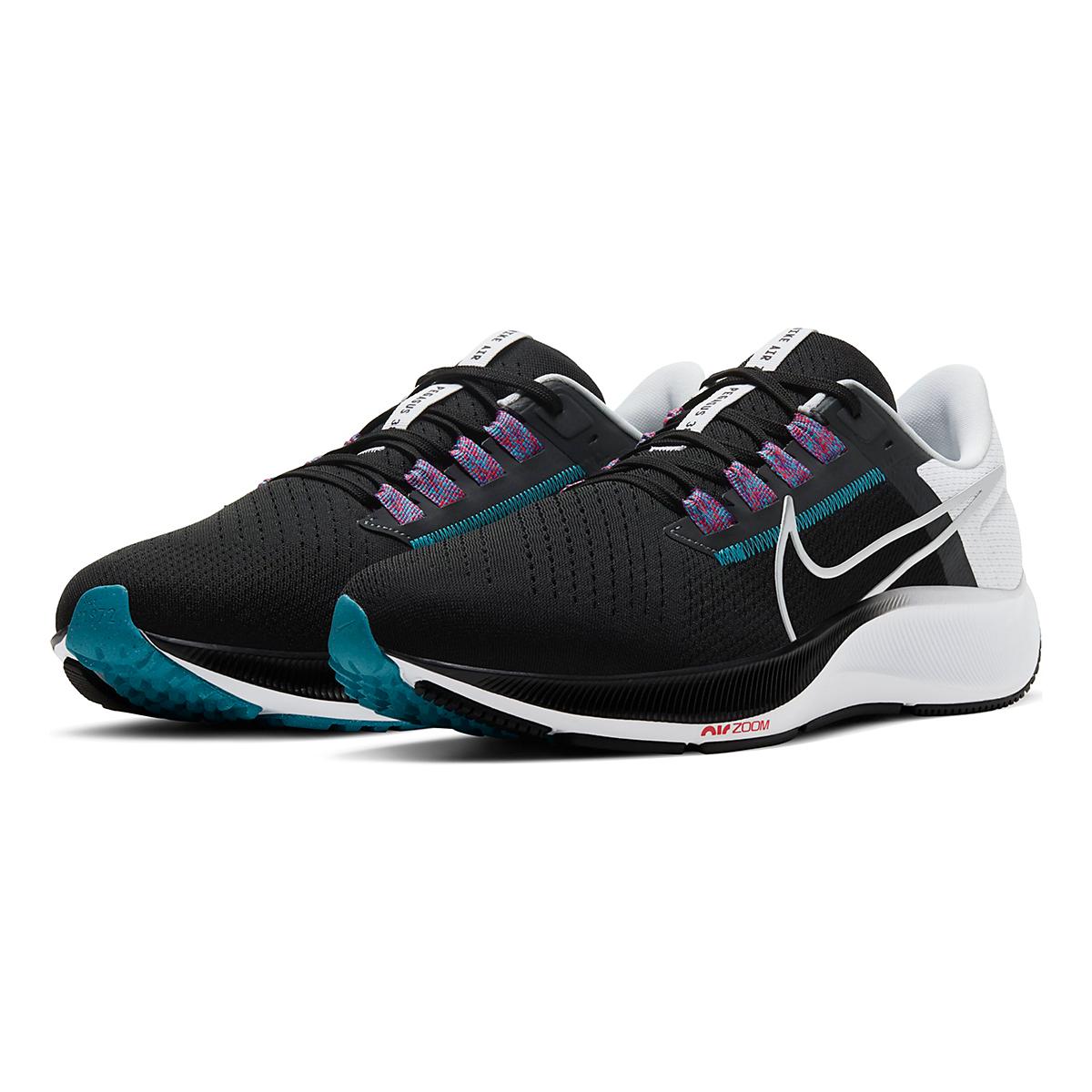 Men's Nike Air Zoom Pegasus 38 Running Shoe - Color: Black/Metallic Silver/White - Size: 6.5 - Width: Regular, Black/Metallic Silver/White, large, image 3