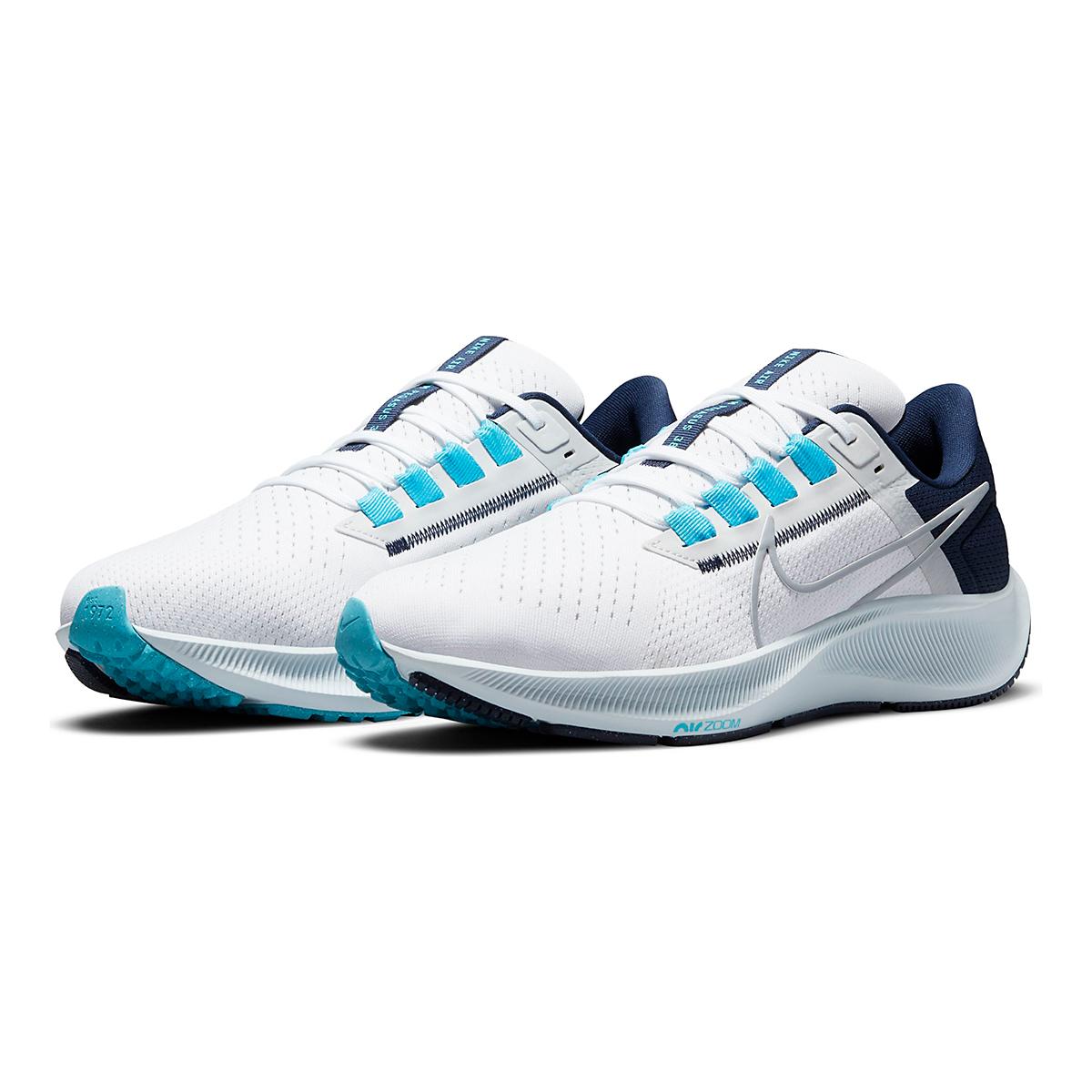 Men's Nike Air Zoom Pegasus 38 Running Shoe - Color: White/Wolf Grey/Pure Platinum - Size: 6 - Width: Regular, White/Wolf Grey/Pure Platinum, large, image 3