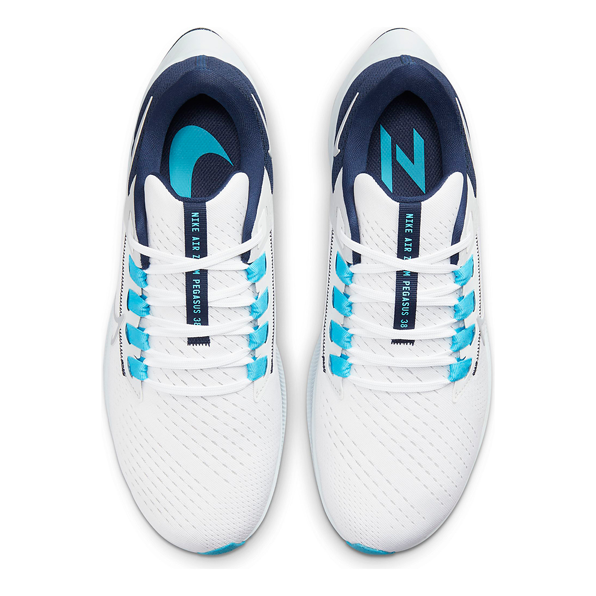Men's Nike Air Zoom Pegasus 38 Running Shoe - Color: White/Wolf Grey/Pure Platinum - Size: 6 - Width: Regular, White/Wolf Grey/Pure Platinum, large, image 6