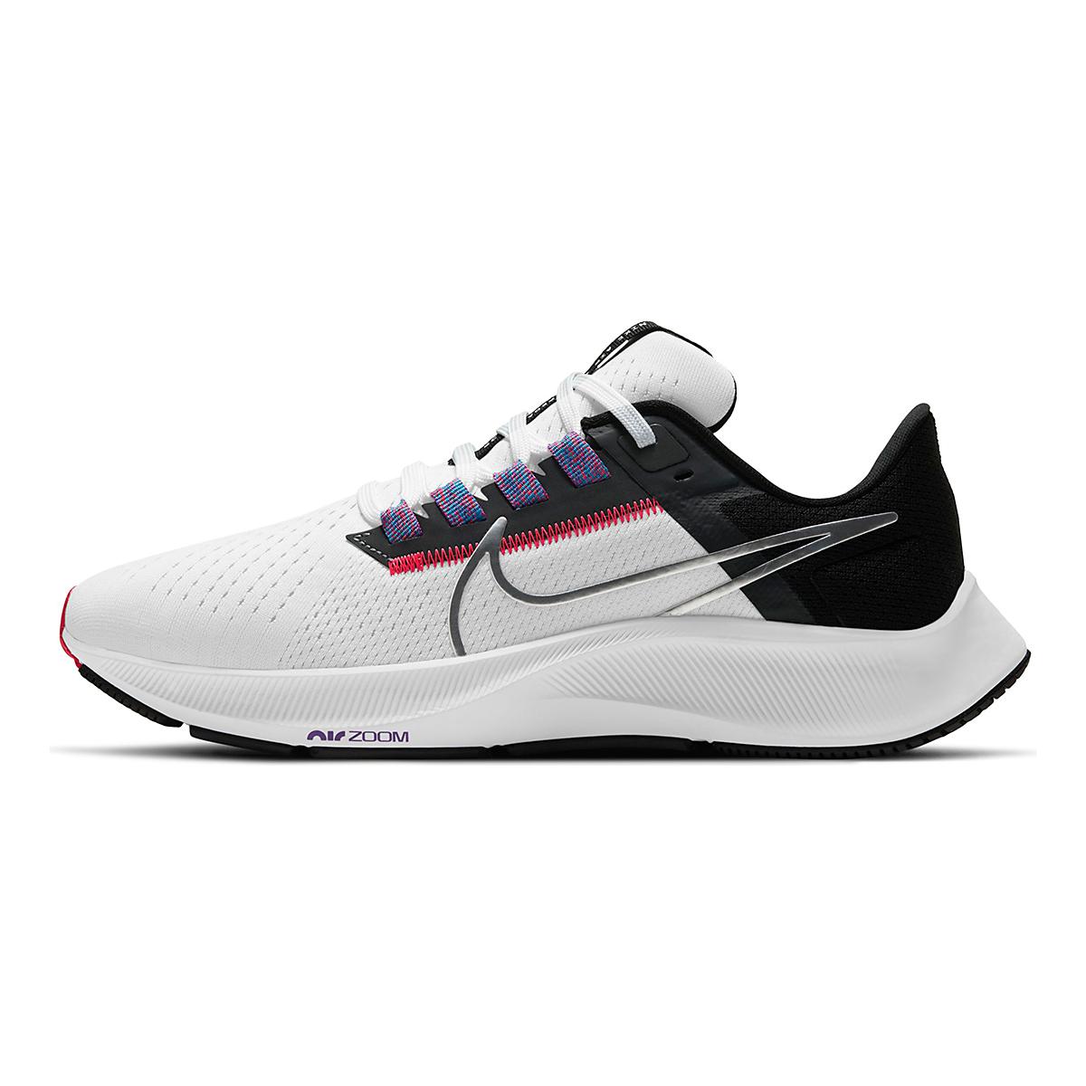 Women's Nike Air Zoom Pegasus 38 Running Shoe - Color: White/Metallic Silver/Black - Size: 5 - Width: Regular, White/Metallic Silver/Black, large, image 2