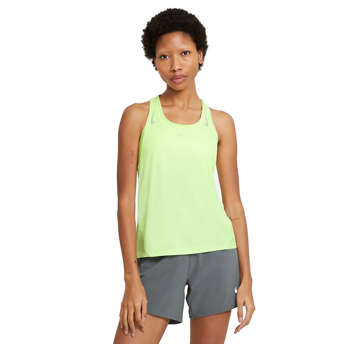 Women's Nike Miler Women's Running Singlet - Color: Barely Volt/Reflective Silver - Size: XS, Barely Volt/Reflective Silver, large, image 1