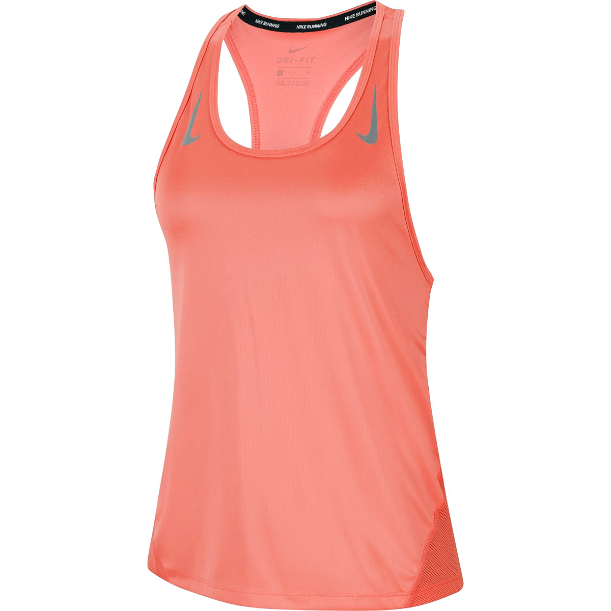 Women's Nike Miler Women's Running Singlet - Color: Bright Mango/Reflective - Size: L, Bright Mango/Reflective, large, image 1