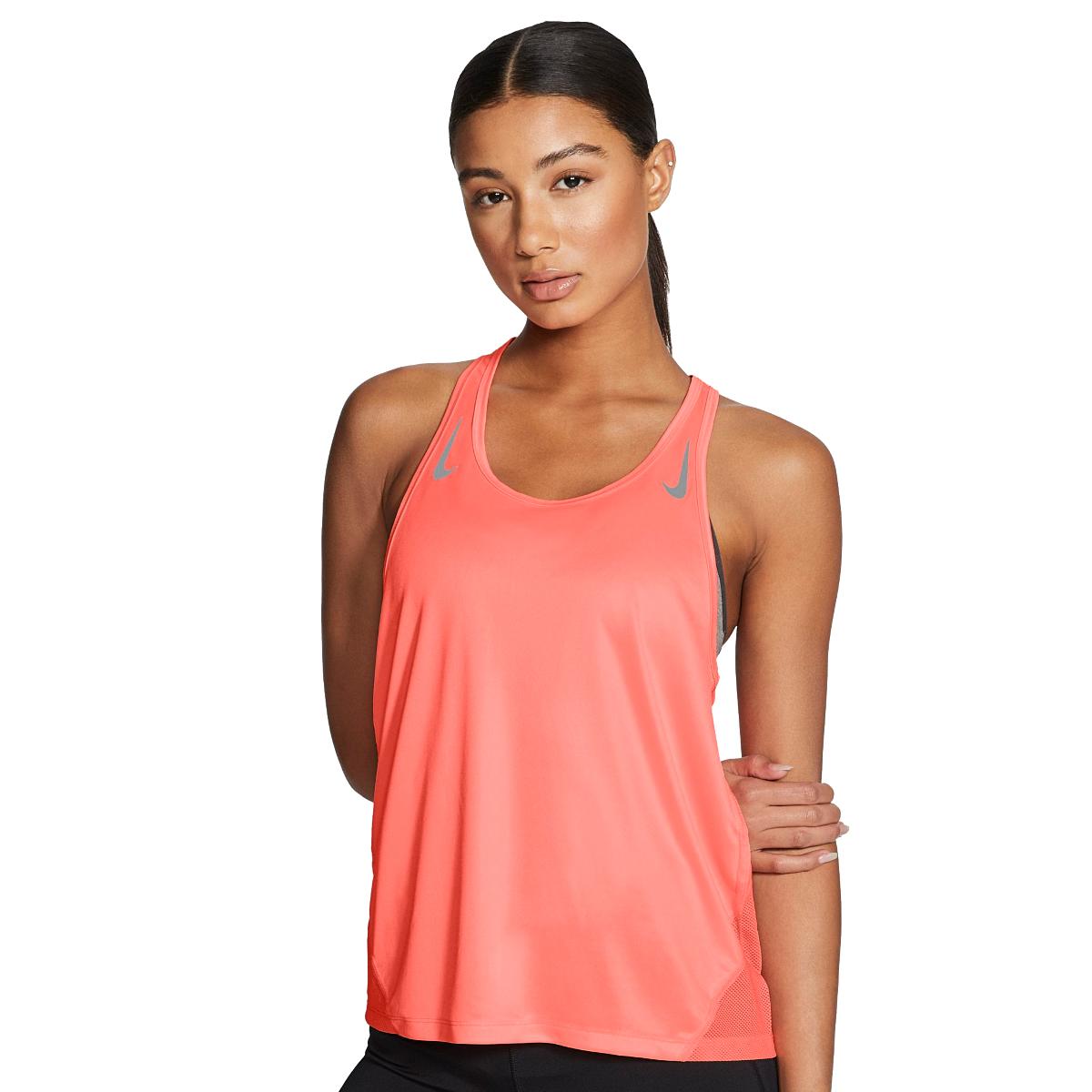 Women's Nike Miler Women's Running Singlet - Color: Bright Mango/Reflective - Size: L, Bright Mango/Reflective, large, image 3