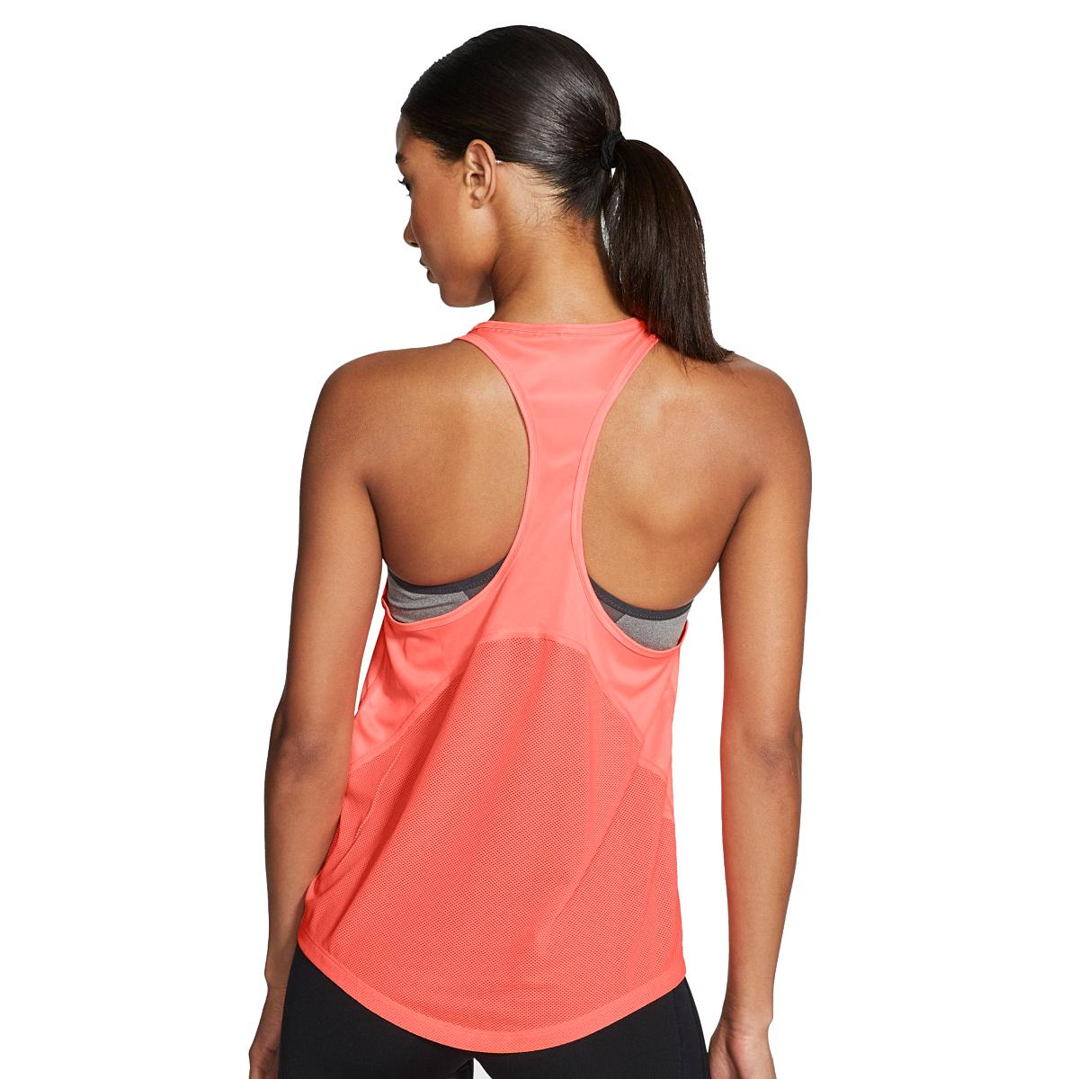 Women's Nike Miler Women's Running Singlet - Color: Bright Mango/Reflective - Size: L, Bright Mango/Reflective, large, image 4