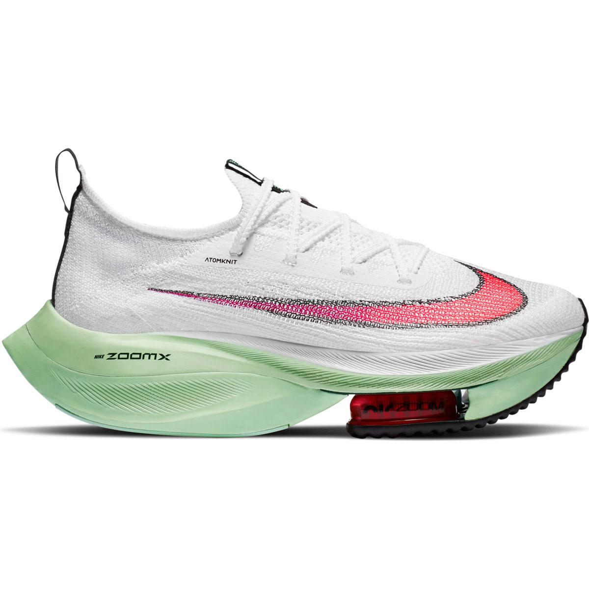 Women's Nike Air Zoom Alphafly Next% Running Shoe - Color: White/Flash Crimson/Jade Aura - Size: 5 - Width: Regular, White/Flash Crimson/Jade Aura, large, image 1