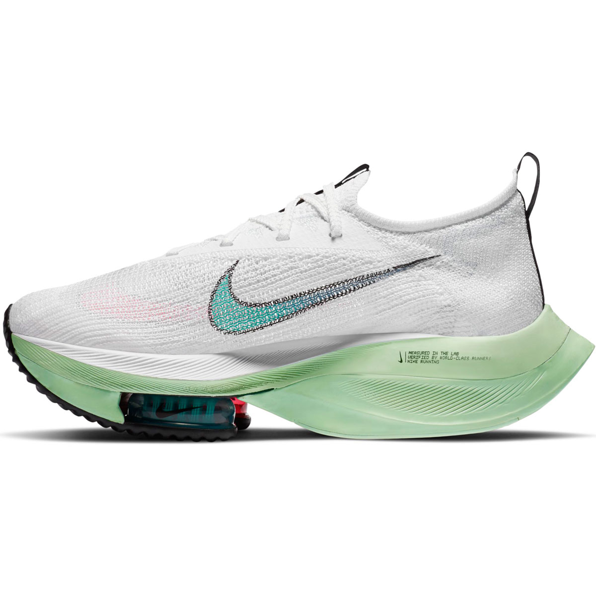 Women's Nike Air Zoom Alphafly Next% Running Shoe - Color: White/Flash Crimson/Jade Aura - Size: 5 - Width: Regular, White/Flash Crimson/Jade Aura, large, image 2