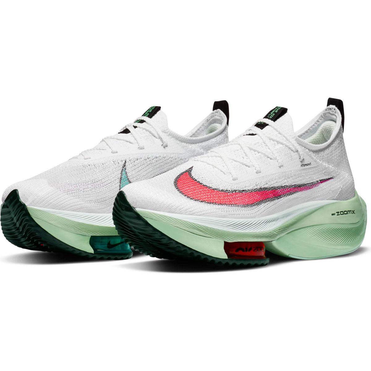 Women's Nike Air Zoom Alphafly Next% Running Shoe - Color: White/Flash Crimson/Jade Aura - Size: 5 - Width: Regular, White/Flash Crimson/Jade Aura, large, image 3