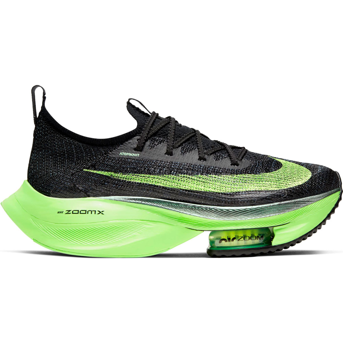 Women's Nike Air Zoom Alphafly Next% Running Shoe - Color: Black/Lime Blast - Size: 5 - Width: Regular, Black/Lime Blast, large, image 1