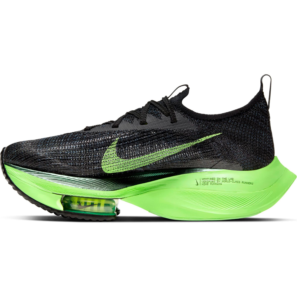 Women's Nike Air Zoom Alphafly Next% Running Shoe - Color: Black/Lime Blast - Size: 5 - Width: Regular, Black/Lime Blast, large, image 2