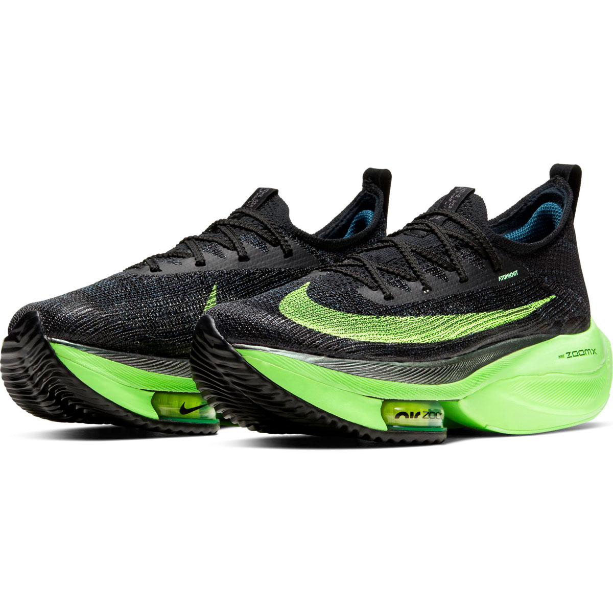 Women's Nike Air Zoom Alphafly Next% Running Shoe - Color: Black/Lime Blast - Size: 5 - Width: Regular, Black/Lime Blast, large, image 4