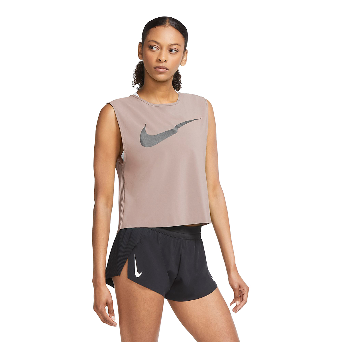 Women's Nike Pleated Run Division Tank - Color: Fossil Stone - Size: XS, Fossil Stone, large, image 1