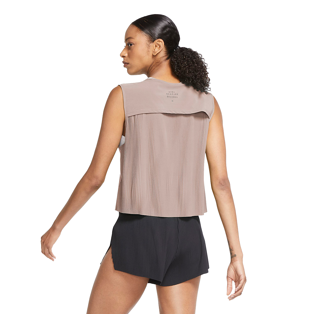 Women's Nike Pleated Run Division Tank - Color: Fossil Stone - Size: XS, Fossil Stone, large, image 2