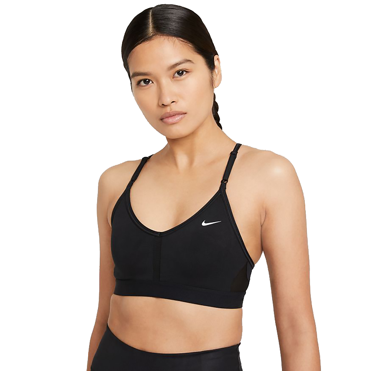 Women's Nike Dri-FIT Indy Light-Support Padded V-Neck Sports Bra - Color: Black/Black/Black/White - Size: XS, Black/Black/Black/White, large, image 1