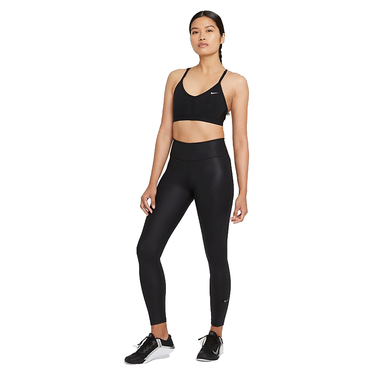 Women's Nike Dri-FIT Indy Light-Support Padded V-Neck Sports Bra - Color: Black/Black/Black/White - Size: XS, Black/Black/Black/White, large, image 3