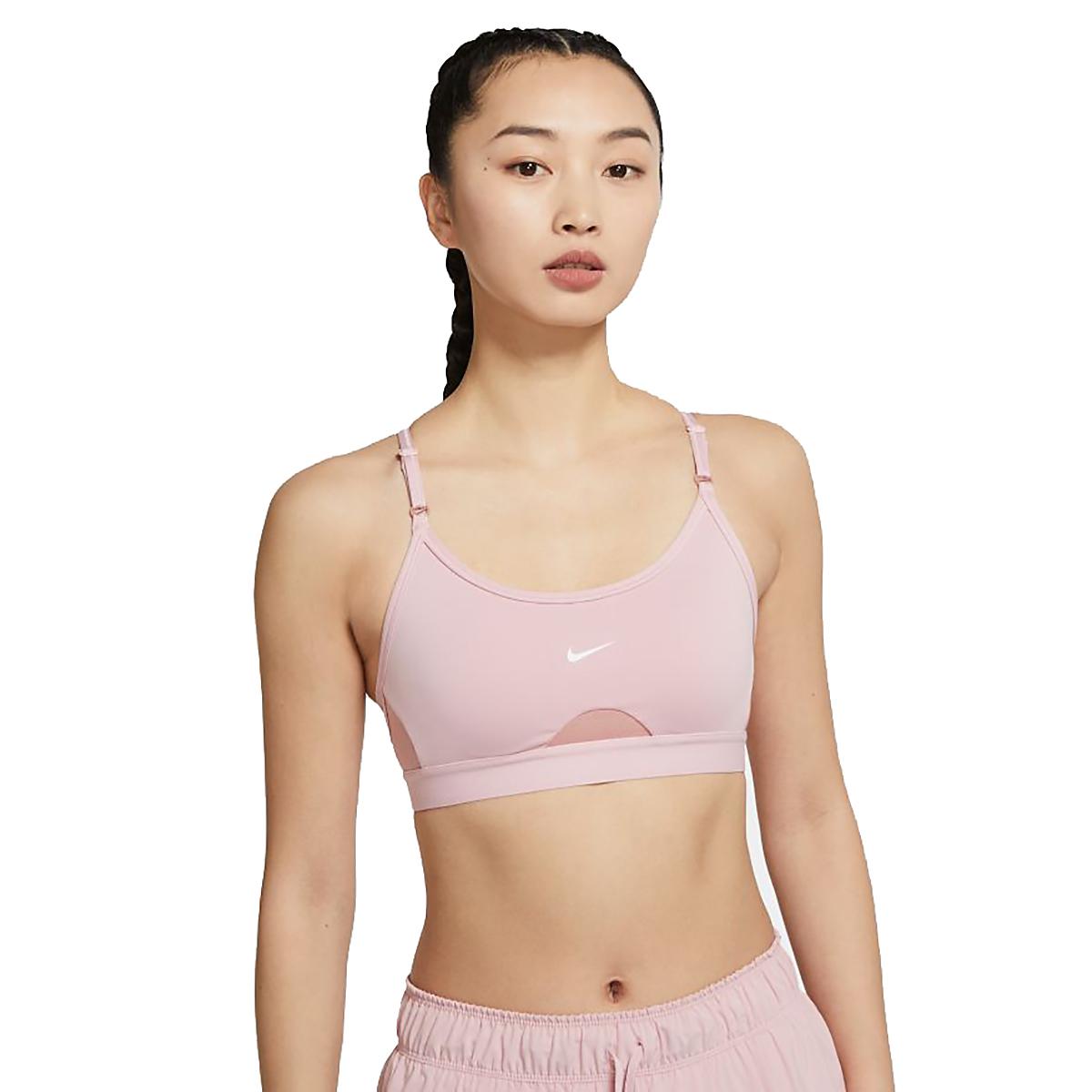 Women's Nike Dri-FIT Indy Light-Support Padded U-Neck Sports Bra - Color: Pink Glaze/Rust Pink/White - Size: XS, Pink Glaze/Rust Pink/White, large, image 1
