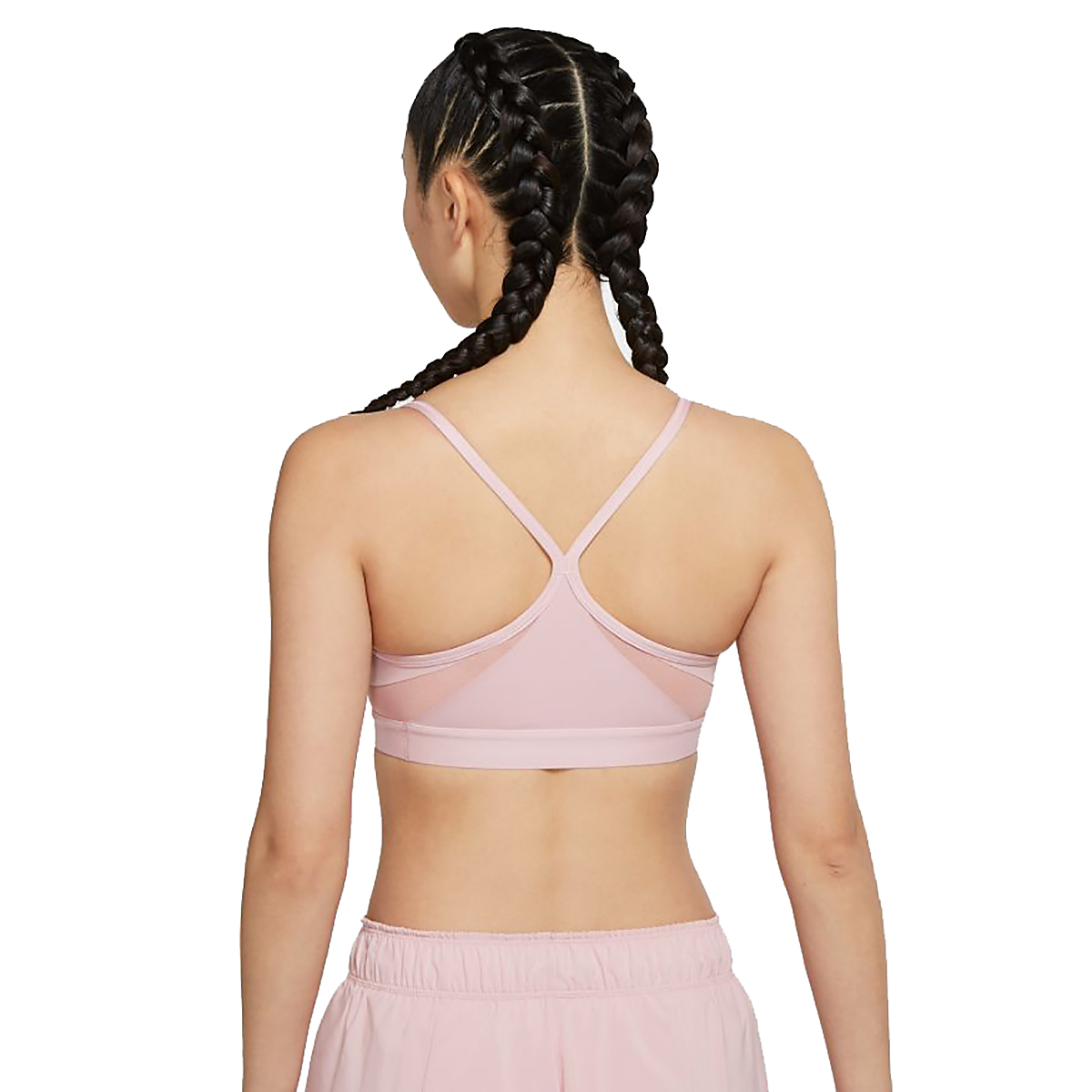 Women's Nike Dri-FIT Indy Light-Support Padded U-Neck Sports Bra - Color: Pink Glaze/Rust Pink/White - Size: XS, Pink Glaze/Rust Pink/White, large, image 2
