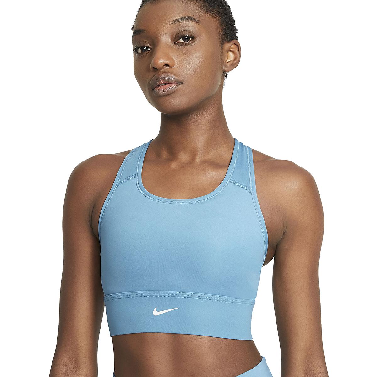 Women's Nike Swoosh Long Line Bra - Color: Cerulean/White - Size: XS, Cerulean/White, large, image 3