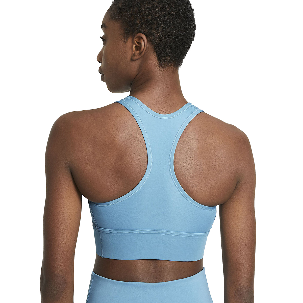 Women's Nike Swoosh Long Line Bra - Color: Cerulean/White - Size: XS, Cerulean/White, large, image 4