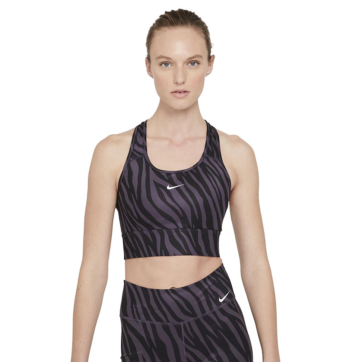 Women's Nike Dri-FIT Swoosh Icon Clash Bra - Color: Dark Raisin/White - Size: XS, Dark Raisin/White, large, image 1