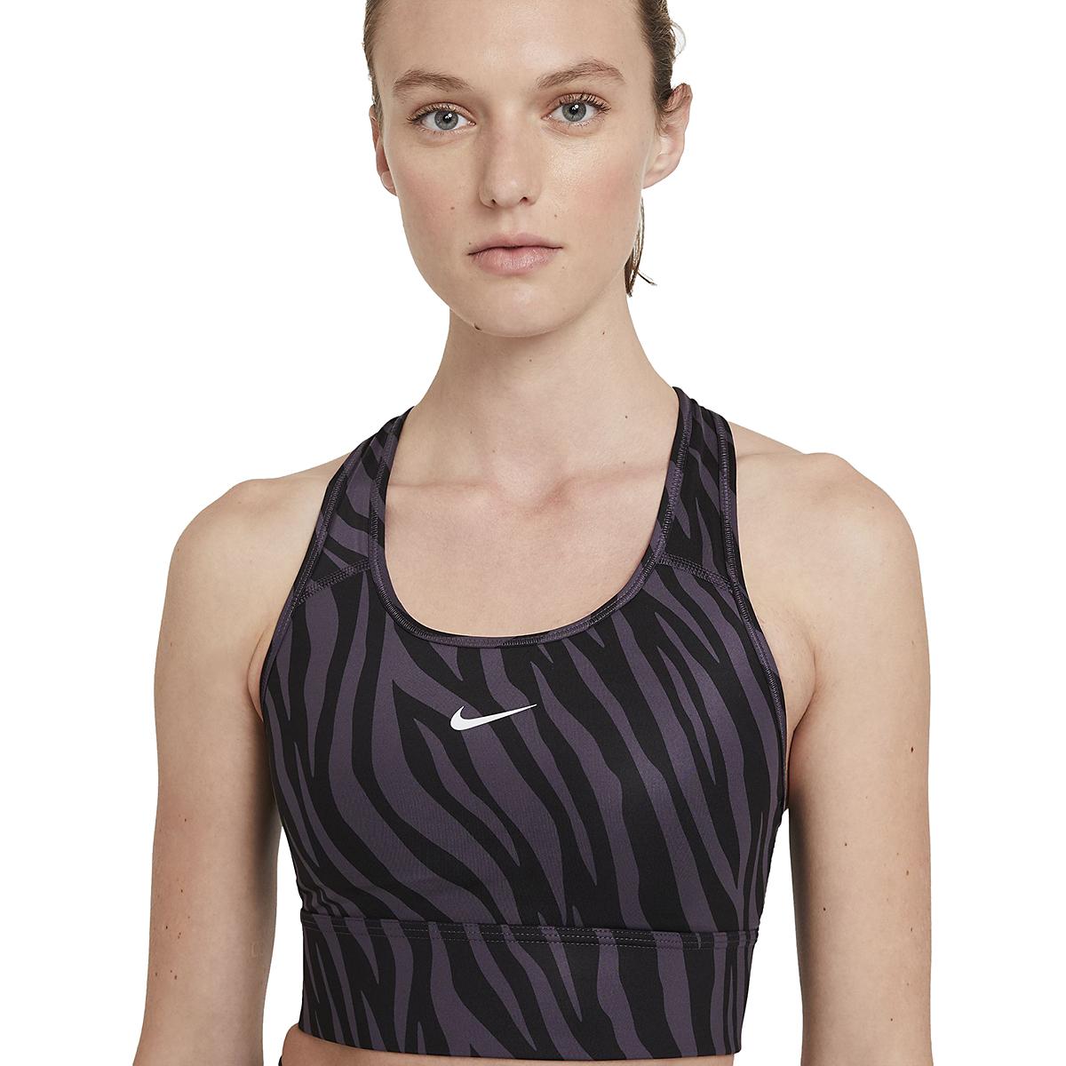 Women's Nike Dri-FIT Swoosh Icon Clash Bra - Color: Dark Raisin/White - Size: XS, Dark Raisin/White, large, image 2