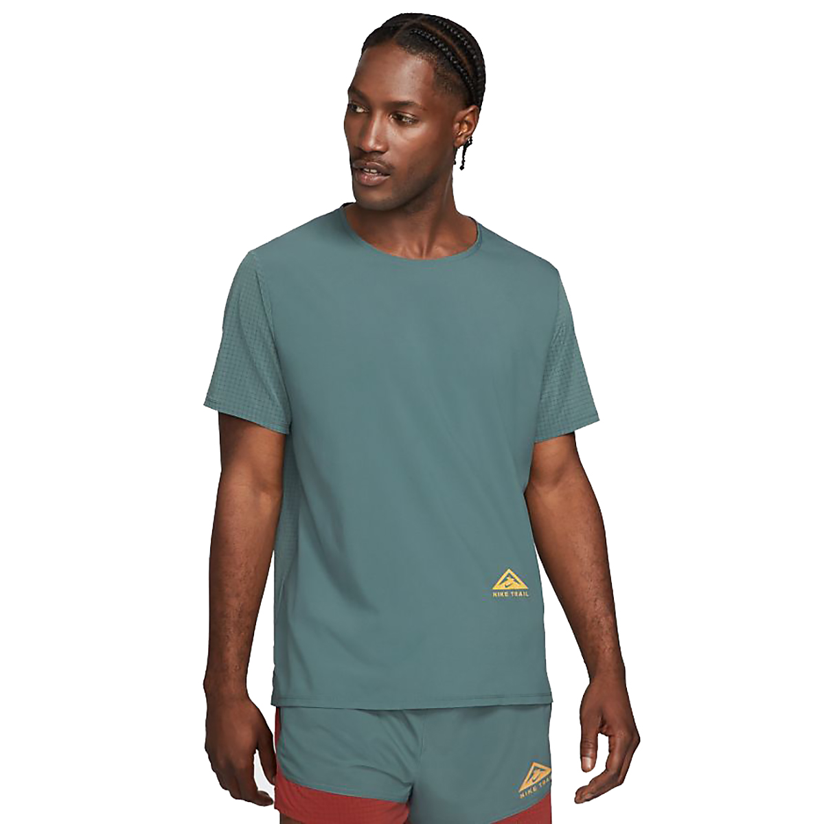 Men's Nike Dri-FIT Rise 365 Short-Sleeve Trail Running Top - Color: Hasta/Reflective Silver - Size: S, Hasta/Reflective Silver, large, image 1