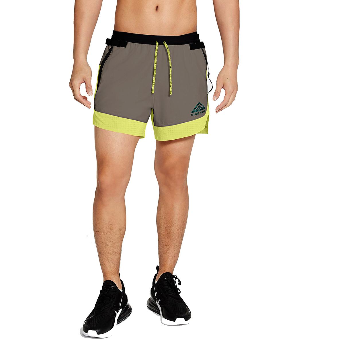Men's Nike Dri-FIT Flex Stride Trail Shorts - Color: Light Lemon Twist/Moon Fossil/Bright Spruce - Size: S, Light Lemon Twist/Moon Fossil/Bright Spruce, large, image 1