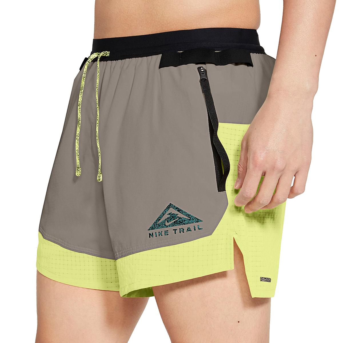 Men's Nike Dri-FIT Flex Stride Trail Shorts - Color: Light Lemon Twist/Moon Fossil/Bright Spruce - Size: S, Light Lemon Twist/Moon Fossil/Bright Spruce, large, image 3