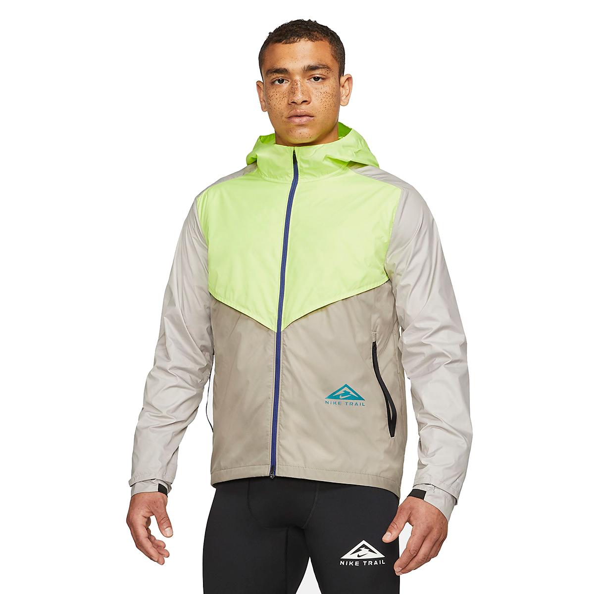 Men's Nike Windrunner Trail Running Jacket - Color: Light Lemon Twist/Moon Fossil/Bright Spruce - Size: S, Light Lemon Twist/Moon Fossil/Bright Spruce, large, image 1