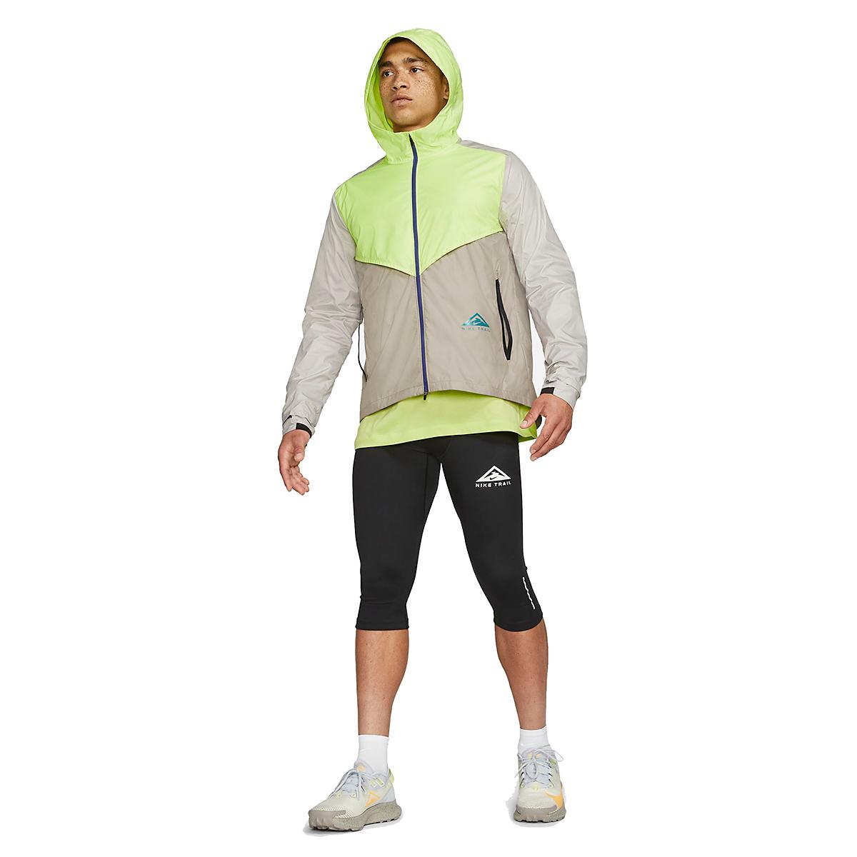 Men's Nike Windrunner Trail Running Jacket - Color: Light Lemon Twist/Moon Fossil/Bright Spruce - Size: S, Light Lemon Twist/Moon Fossil/Bright Spruce, large, image 3