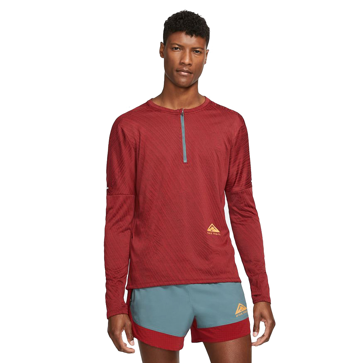 Men's Nike Dri-FIT Element 1/2-Zip Trail Running Top - Color: Dark Cayenne/Bronze Eclipse - Size: S, Dark Cayenne/Bronze Eclipse, large, image 1