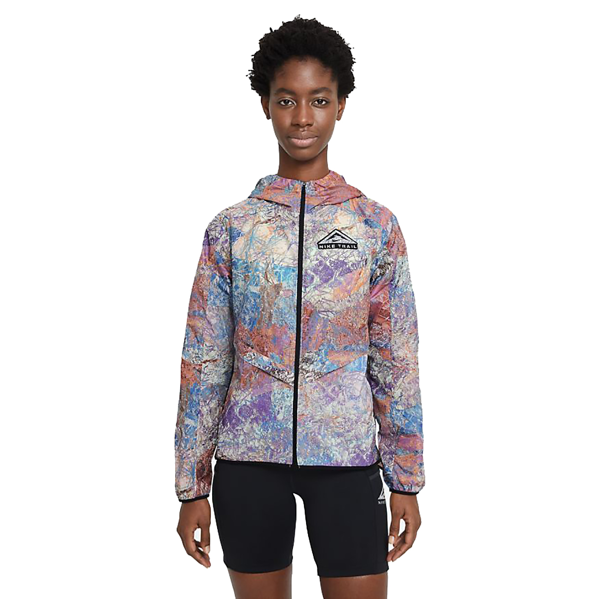 Women's Nike Windrunner Packable Trail Running Jacket - Color: Blue Lagoon/Black/Reflective Silver - Size: XS, Blue Lagoon/Black/Reflective Silver, large, image 1