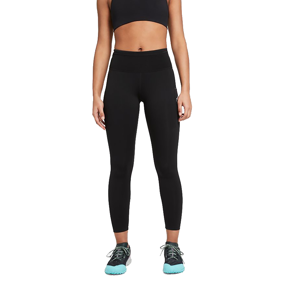 Women's Nike Epic Luxe Trail Running Tights - Color: Black/Dark Smoke Grey/Reflective Silver - Size: XS, Black/Dark Smoke Grey/Reflective Silver, large, image 1