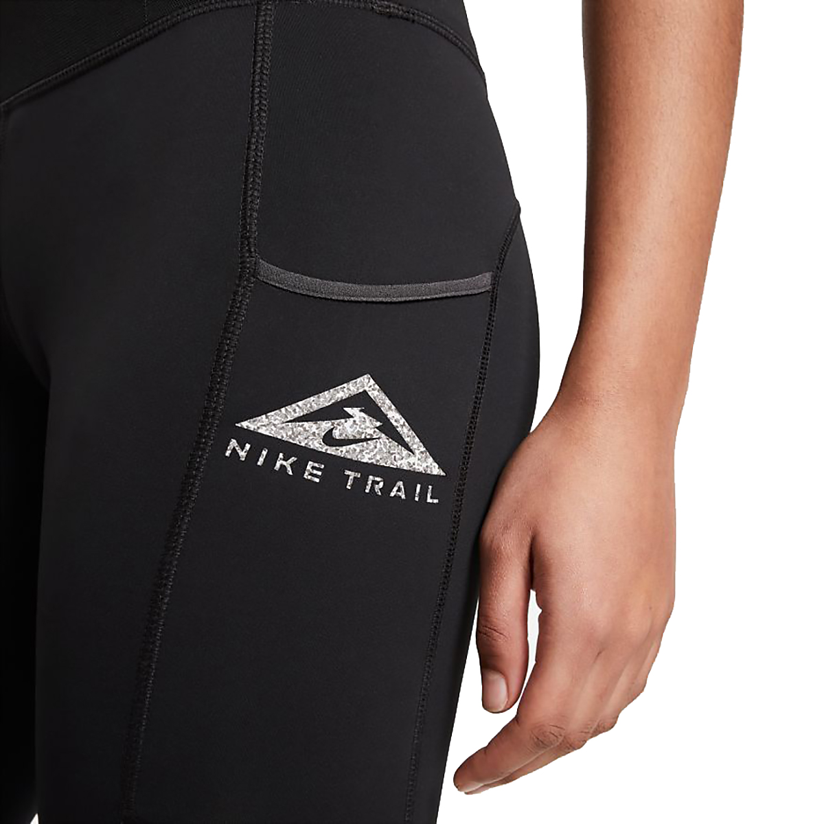 Women's Nike Epic Luxe Trail Running Tights - Color: Black/Dark Smoke Grey/Reflective Silver - Size: XS, Black/Dark Smoke Grey/Reflective Silver, large, image 4