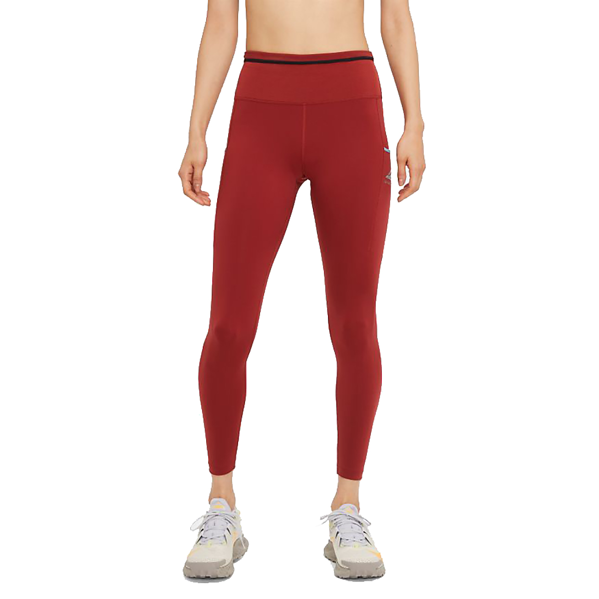 Women's Nike Epic Luxe Trail Running Tights - Color: Dark Cayenne/Cerulean/Reflective Silver - Size: XS, Dark Cayenne/Cerulean/Reflective Silver, large, image 1