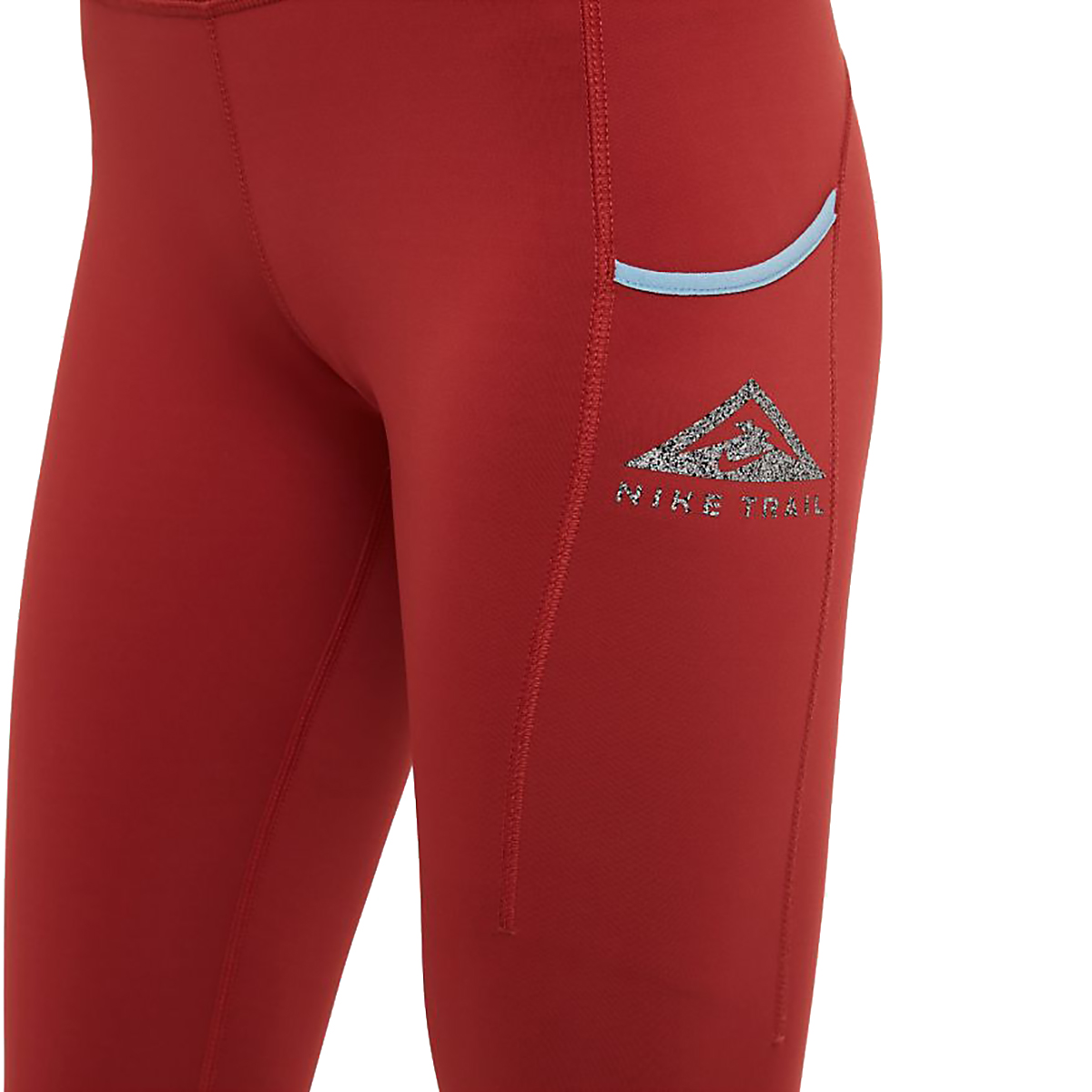 Women's Nike Epic Luxe Trail Running Tights - Color: Dark Cayenne/Cerulean/Reflective Silver - Size: XS, Dark Cayenne/Cerulean/Reflective Silver, large, image 3
